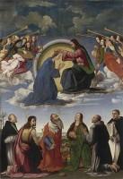 Ridolfo Ghirlandaio: 'Jomfruens kroning med seks helgener' (1504)